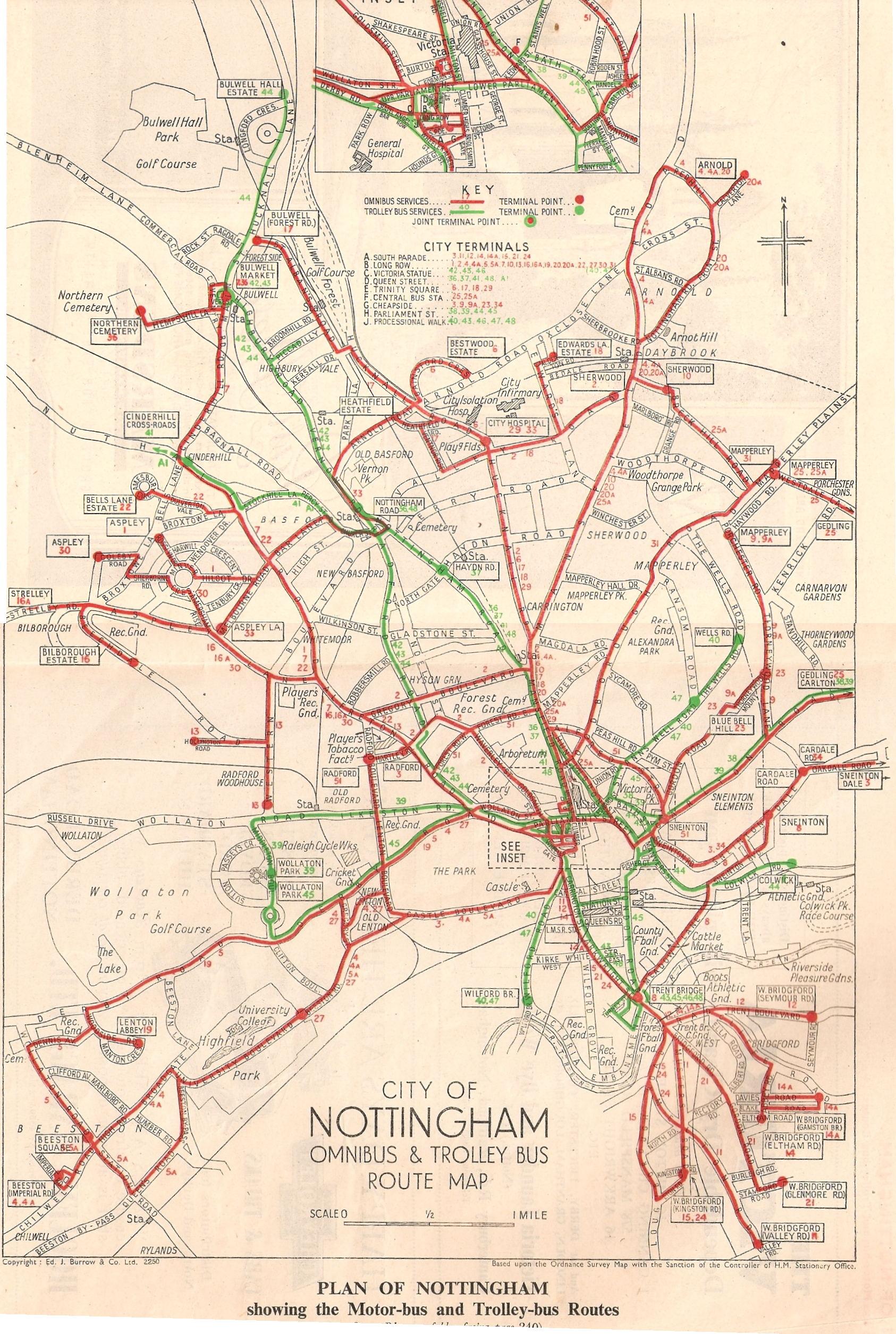 nottm bus routes 1940s old maps of nottingham. Black Bedroom Furniture Sets. Home Design Ideas
